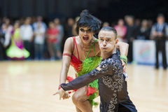 MINSK-BELARUS, MAY, 18: Unidentified Dance couple performs ADULT Royalty Free Stock Photo