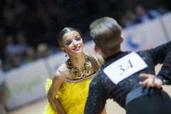 MINSK-BELARUS, MAY,18: Unidentified Dance couple performs Youth-2 Latin-American program on World Open Minsk-2013 championship i. N May 18, 2013 in Minsk royalty free stock image
