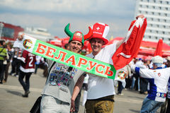 MINSK, BELARUS - MAY 10, 2014: The World Ice Hockey Championship. In Minsk - a look from within Royalty Free Stock Image