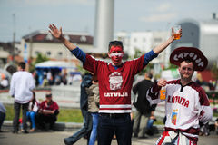 MINSK, BELARUS - MAY 10, 2014: The World Ice Hockey Championship. In Minsk - a look from within Royalty Free Stock Photography