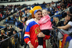 MINSK, BELARUS - MAY 10, 2014: The World Ice Hockey Championship. In Minsk - a look from within Royalty Free Stock Photos