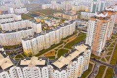 New residential area in the city. High rise building aerial stock photography