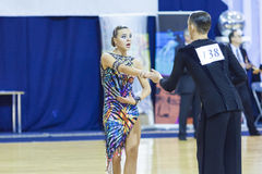 Minsk-Belarus, October 4,2014: Aleksei Tkachuk and Nadezhda Volu Royalty Free Stock Photography