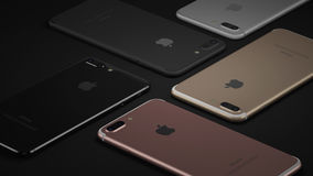 Minsk, Belarus - October 12, 2016: 3D rendering of Apple iPhone 7 Plus. Back side with Apple Inc logo Stock Photo