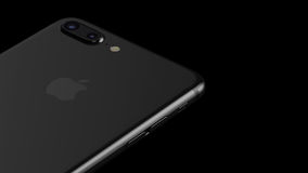 Minsk, Belarus - October 12, 2016: 3D rendering of Apple iPhone 7 Plus. Back side with Apple Inc logo Royalty Free Stock Photo
