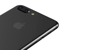 Minsk, Belarus - October 12, 2016: 3D rendering of Apple iPhone 7 Plus. Back side with Apple Inc logo Royalty Free Stock Photography
