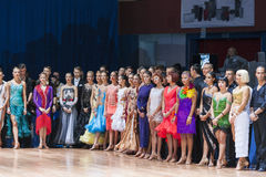 Minsk-Belarus, October 18, 2014: Dance couples standing prior to Royalty Free Stock Photo