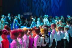 Minsk-Belarus, October 19, 2014: Dance couples standing prior to Stock Photo