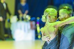 Minsk-Belarus, October 18, 2014: Egor Kosyakov-Anastasiya Belmac. H perform Adult Latin-American Program on on IDSA World Open Championship 2014 in October 18 Royalty Free Stock Photography