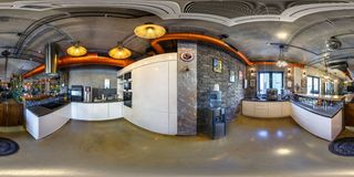 MINSK, BELARUS - OCTOBER 31, 2015: Full 360 panorama in equirectangular spherical projection in stylish modern kitchen in royalty free stock images