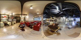 MINSK, BELARUS - OCTOBER, 2015: full seamless panorama 360 degrees angle view in modern trade center near food court with red stock photos