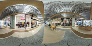 MINSK, BELARUS - OCTOBER 22, 2016: Panorama interior modern trade center. Full spherical 360 by 180 degrees seamless panorama in stock images