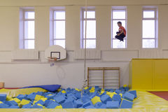 Minsk, Belarus - October 10, 2016: trampoline ride indoors. family entertainment. Royalty Free Stock Images