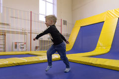 Minsk, Belarus - October 10, 2016: trampoline ride indoors. family entertainment. Stock Photography