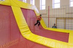 Minsk, Belarus - October 10, 2016: trampoline ride indoors. family entertainment. Royalty Free Stock Image