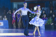 Minsk-Belarus, October 18, 2014: Unidentified Dance Couple Performs Youth-2 Latin-American Program on IDSA World Open stock images