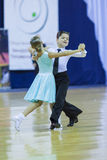 Minsk-Belarus, October 4,2014: Unidentified Dance couple perform Stock Photo