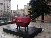 Rhinoceros.installation sculpture.scrap metall. royalty free stock images