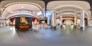 Minsk, Belarus - 2018 : panorama 3D sphérique de l'intérieur de grenier de partie avec l'angle de visualisation 360 préparez pour Photographie stock