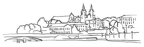 Minsk Belarus Panorama Sketch. Monochrome Urban Cityscape Vector Artprint Royalty Free Stock Photos