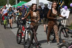 Participants in the annual cyclists carnival go to the start site royalty free stock image
