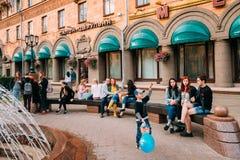 Minsk, Belarus. People Resting Walking On Lenin Street In Summer Stock Photos