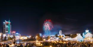 Minsk, Belarus Saludo festivo durante la celebración del día de Imagen de archivo libre de regalías