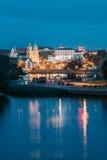 Minsk, Belarus Señal famosa en la tarde del verano o en la iluminación de las luces de la noche Foto de archivo libre de regalías
