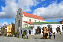 Free Minsk, Belarus, September, 28, 2015. People Walking Near St. Joseph`s Church, 4 Cyril And Methodius Street, Minsk, Belarus Stock Photography - 185718392