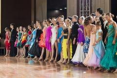 Minsk-Belarus, September 26, 2015: Dance couples standing prior Royalty Free Stock Images