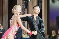 Minsk, Belarus-September 27, 2015: Egor Kosyakov and Anastasiya. Belmach Perform Youth Latin- American Program on III International IDSA World Dance Royalty Free Stock Photos