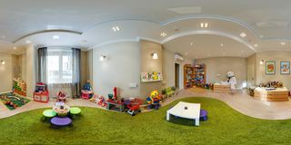 MINSK, BELARUS - SEPTEMBER 11, 2016: Full 360 panorama in equirectangular spherical projection in stylish beauty child room. royalty free stock photography