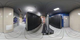 MINSK, BELARUS - SEPTEMBER, 2017: full seamless panorama 360 degrees angle view in modern locker room wardrobe in elite sport. Complex in equirectangular stock image