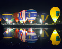 Minsk, Belarus. 13-September-2014:  hot air balloon glow reflect Royalty Free Stock Photos
