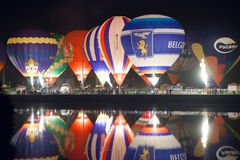 Minsk, Belarus. 13-September-2014:  hot air balloon glow reflect Stock Image