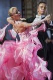 Minsk, Belarus-September 26, 2015: Kosyakov Egor and Belmach Ana. Stasiya Perform Adult Standard Program on III International IDSA World Dance Championship Stock Images