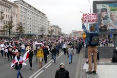 Minsk, Belarus - September 27, 2020. Mass protest rally against election result and police violence.. Protesters took to the