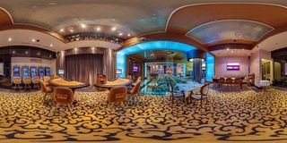 MINSK , BELARUS - SEPTEMBER 20, 2012: panorama inside interior of luxury stylish gold casino XO. Full 360 degree seamless panorama royalty free stock image