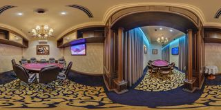 MINSK, BELARUS - SEPTEMBER 21, 2012: Panorama of interier hall luxury casino in vip room, full 360 seamless panorama in. Equirectangular spherical projection royalty free stock image