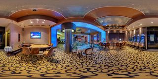 MINSK, BELARUS - SEPTEMBER 21, 2012: Panorama in interior in stylish hall in modern casino. Full 360 degree seamless panorama in royalty free stock image