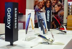 Minsk, Belarus, September 1, 2018: Showcase Samsung Galaxy with a branded store. royalty free stock photo