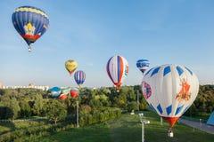 Minsk, Belarus 12-September-2014: vista del volo del baloon dell'aria calda Immagini Stock Libere da Diritti