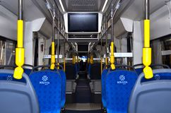Tram interior «Metelista» for the Cochabamba Metropolitan Train project in Bolivia. 08.06.2019. Minsk, Belarus: Tram interior «Metelista» for the royalty free stock photography