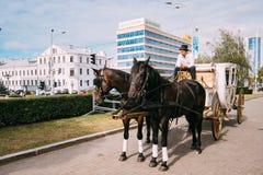 Minsk, Belarus Transporte do feriado tirado por dois cavalos, controlados Imagem de Stock