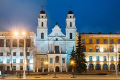 Minsk, Belarus Vista da catedral do Virgin Mary And Part de Saint Imagem de Stock Royalty Free