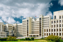 Minsk, Belarus. White Government Parliament Building Or National Assembly Of Belarus In Independence Square. Royalty Free Stock Image