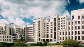 Minsk, Belarus. White Government Parliament Building Or National Stock Photo