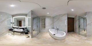 MINSK BIAŁORUŚ, MAJ, -, 2017: pełna bańczasta panorama 360 stopni kąta widoku w wewnętrznej łazience w nowożytnych płaskich miesz zdjęcie stock