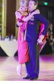 Minsk, Białoruś †'Wrzesień 26, 2015: Włoski taniec pary perf Zdjęcia Royalty Free