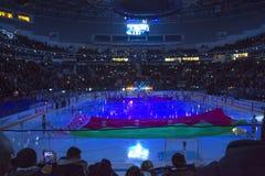 Minsk, Białoruś, 09 01 2018 - hokej zapałczany Dinamo Minsk Białoruś, Lokomotiv Yaroslavl Rosja - Fotografia Royalty Free